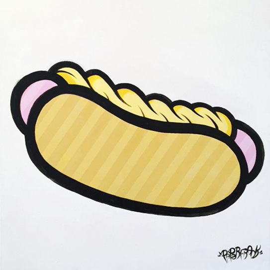 "HOT DOG 2 - ACRYLIC ON CANVAS 30"" X 30"" - $1000"