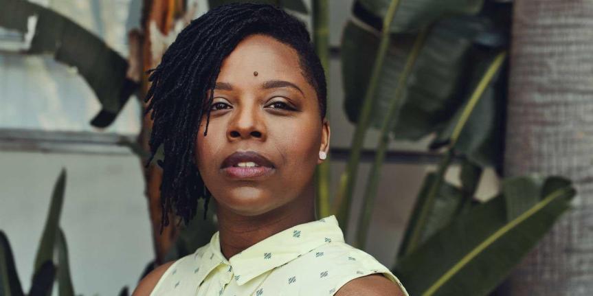 Black Lives Matter Co-founder Patrisse Cullors in Asheville, Friday, January19